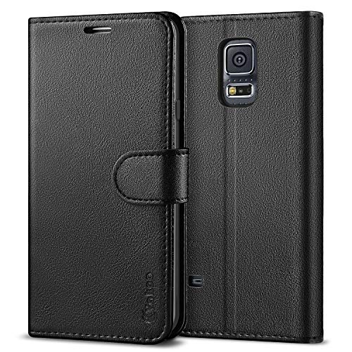 (Vakoo Wallet Flip Case for Samsung Galaxy S5, Premium PU Leather Phone Cover with Card Slot for Samsung Galaxy S5 - Black)