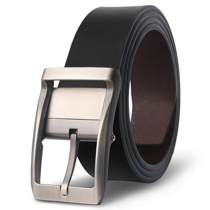 M.R Cinturón Hombre Cuero de Piel Negro Marrón Clásico con Reversible Hebilla Giratoria 33mm TpQbxF