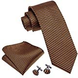 Plaid Ties Check Necktie Orange Handkerchief Cufflinks for Men Tie Set