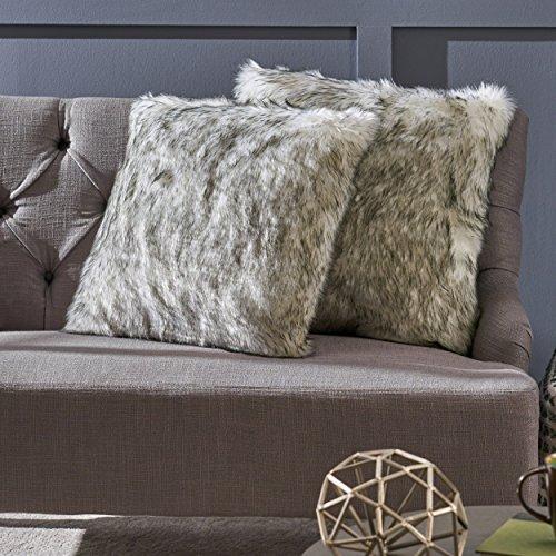 Discount Laraine Furry Glam White and Grey Streak Faux Fur Throw Pillows (Set of 2) supplier