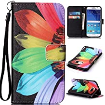OTTER MK for Galaxy S6 Wallet Case, PU Leather Flip Folio Kickstand Card Holder Cover with Strap Case for Samsung Galaxy S6