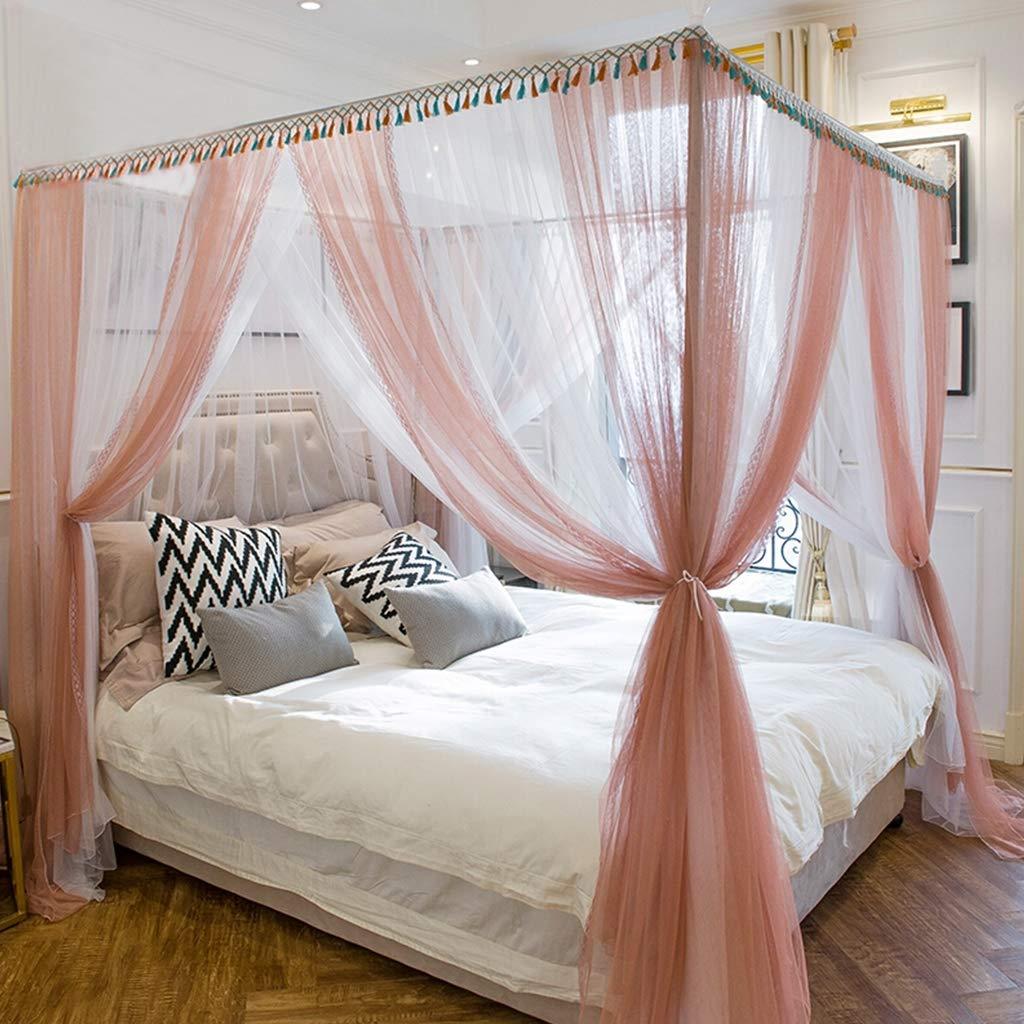 大宮殿プリンセスベッド蚊帳、3オープニングダブル糸スクエアベッドキャノピーネットカーテン用クイーンサイズベッドルーム装飾 Jade B07RYWSMT4 Jade