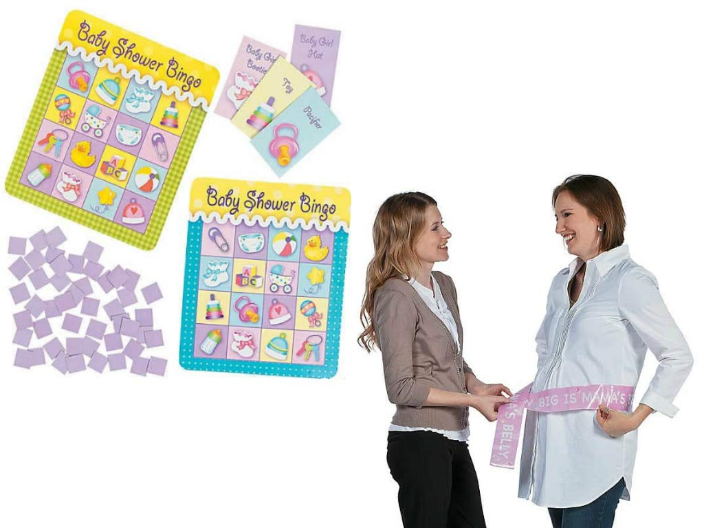 Baby Shower Game, Games For Baby Celebration - Bingo & How Big Is Momma's Belly, Set of 2 by EASYHOST