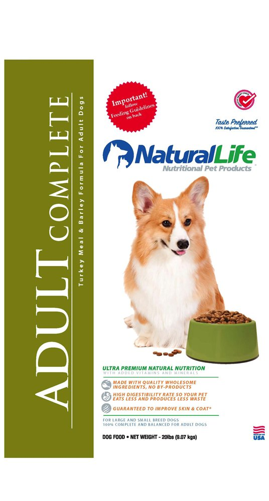 Natural Life Pet Products Adult Complete Turkey/Barley, 8-Pound Bags (Pack of 5)