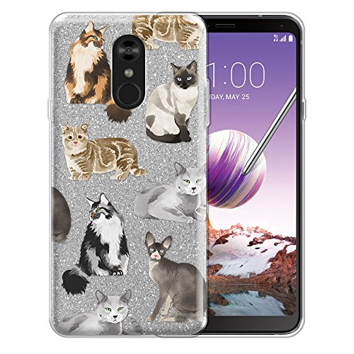 WIRESTER Case Compatible with LG Stylo 4, Shiny Sparkling Silver Bling Glitter TPU Protector Cover Case for LG Stylo 4 - Cat - Big Cat Protector Case