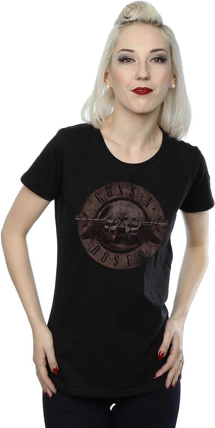 Guns N Roses Mujer Sepia Bullet Logo Camiseta