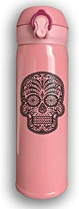 Thermoses Stainless Steel Coffee Mug Sugar Skull Travel Cups for Home Office School Works Car Great for Hot and Cold Drink Free Flip Cap Double Wall - Pink
