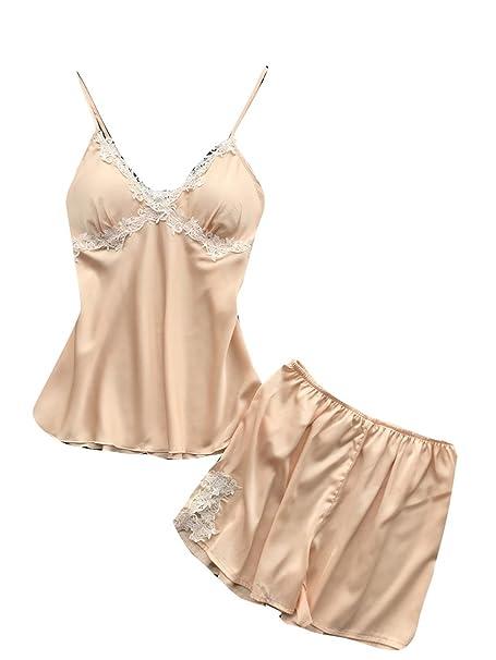 YUCH Traje De Pantalón Corto De Pijama De Liguero De Mujer, Bin, M