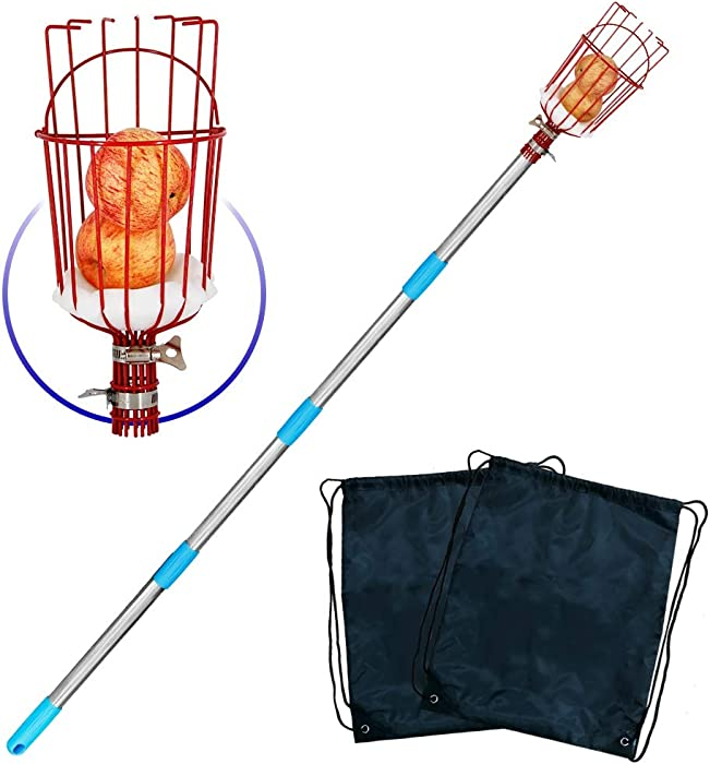 YOFIT Fruit Picker Basket with Cushion and 1.3-12 FT Telescopic Extension Pole, Twist-On Professional Metal Fruit Catcher Harvester with a Storage Bag, 13 FT Fruit Picking Tool for Any Kinds of Fruits