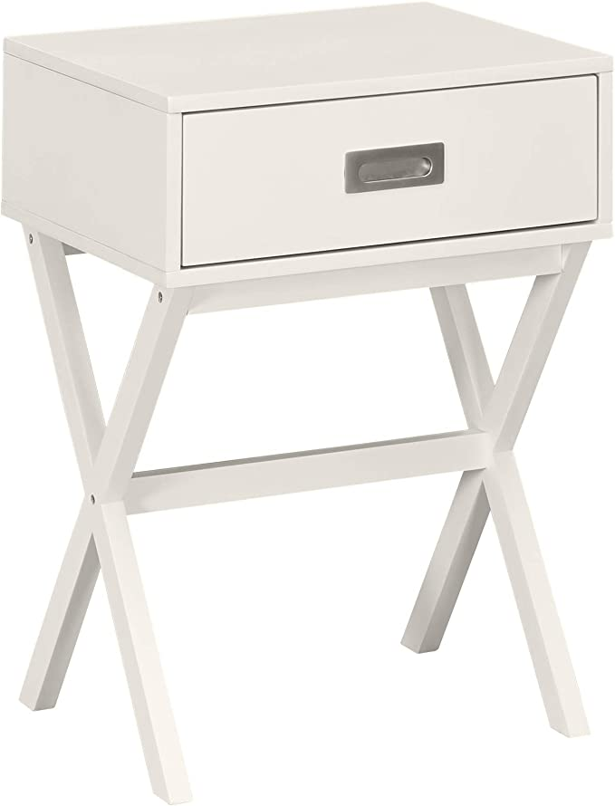 Amazon Brand Ravenna Home Priscilla Modern X Frame End Table Nightstand 18 9 W White Furniture Decor Amazon Com