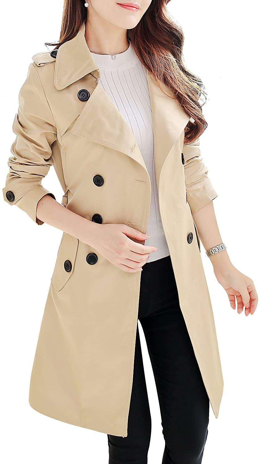 NANJUN Women's Double Breasted Trench Coat