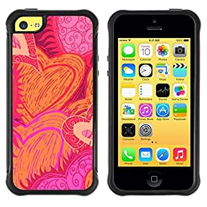 Suave TPU Caso Carcasa de Caucho Funda para Apple Iphone 5C / heart hand drawn sun flames love pink / STRONG