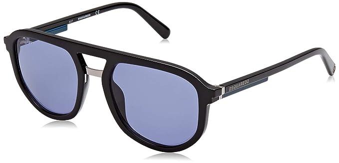 61e24cb3b2fc DSQUARED2 Men's EVAN Sunglasses, Black (Shiny Black/Blue), 54 ...