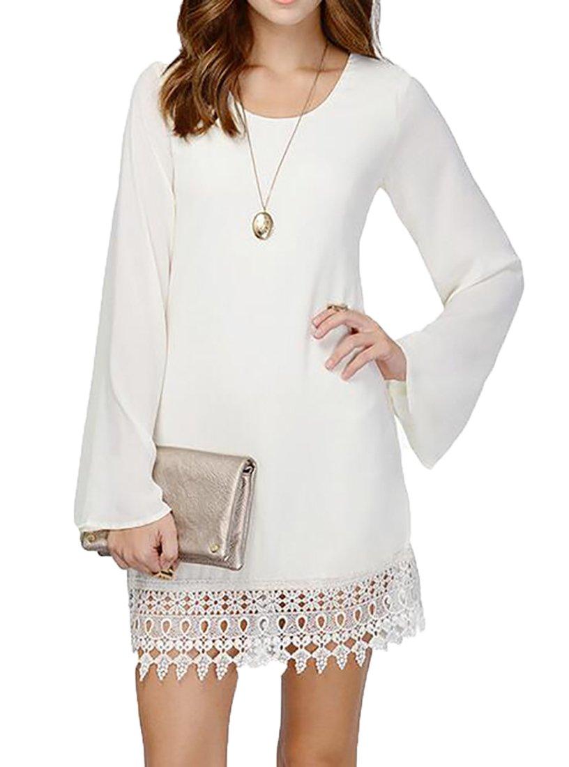 Bloomyma Women Lace Stitch Long Sleeve Chiffon Sexy A-Line Mini Dress White XS