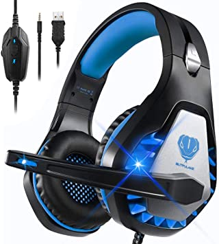 Todo para el streamer: Auriculares Gaming para PS4 Xbox One Nintendo Switch Laptop PC, DIWUER Cascos Gaming de Estéreo con Micrófono Bass Surround y Cancelación de Ruido Auriculares, 3.5mm Interfaz y Luz LED