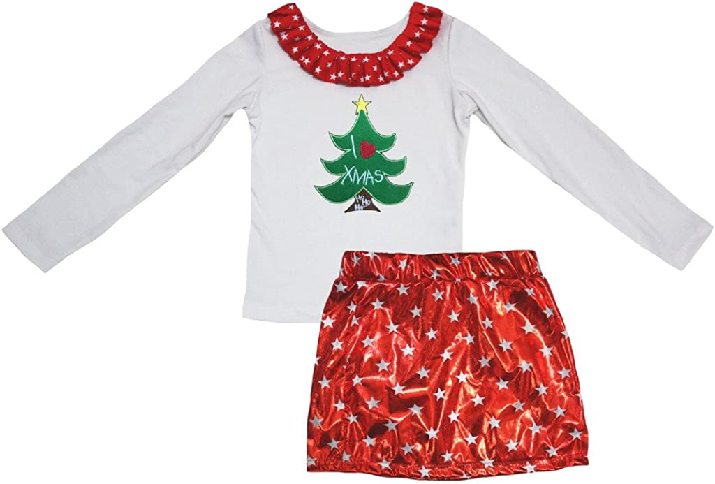 Petitebella I Love Xmas Tree White L//s Shirt Stars Red Bling Skirt Set 1-8y