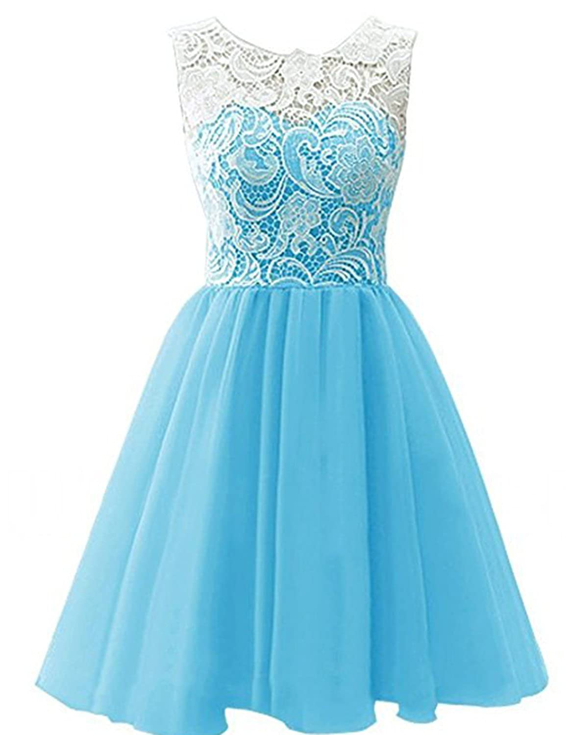 bluee YIRENWANSHA 2018 Short Homecoming Dress for Women Manual Lace Knee Length Formal Prom Gown YJW5