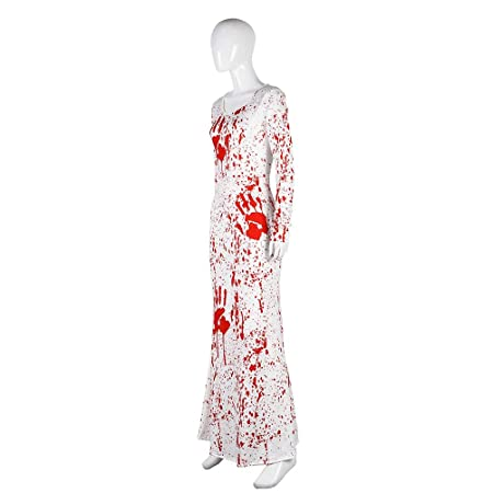 Amazon.com: Amosfun Horrific O-Neck Blood Long Sleeve One-Piece Dress Halloween Party Ladies Dress for Women Size S/M (White): Toys & Games