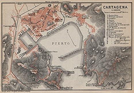CARTAGENA ciudad de ciudad antiguo plan. Mapa de España. GUÍA BAEDEKER, 1913: Amazon.es: Hogar