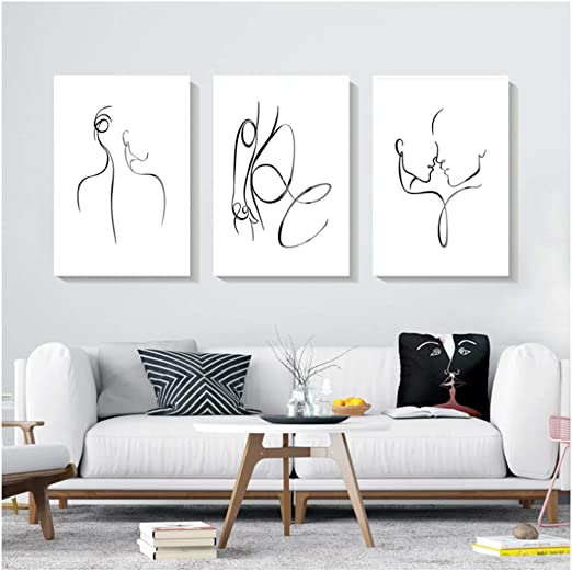 Modern Nordic Abstract Women Canvas Art Poster Print Wall Picture Home Decor