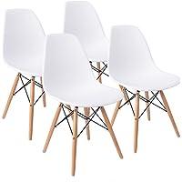 KunstDesign Set di 4 sedie Stile Eames, Design ergonomico (Bianco)