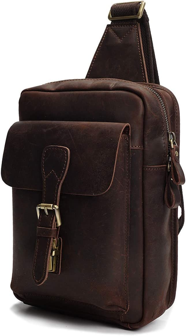 Real Leather Cross Body Sports Backpack Flight Pouch Chest Bag H8053 Brown
