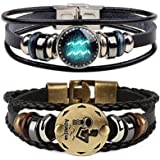 BAOHOKE Retro 12 Zodiac Constellation Metal Buckle Tribal Bracelets Black