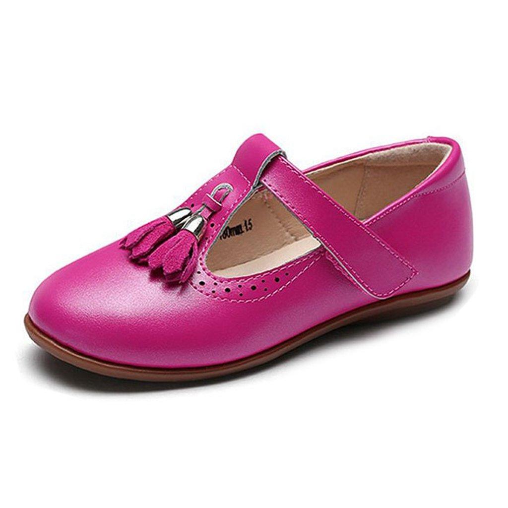 Toddler Girl's Mary Jane Shoe Slip-On Soft Leather Flower Dress Ballet Princess Shoes