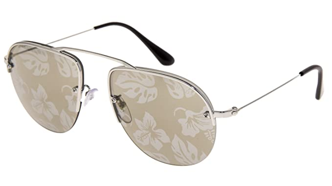 e09591886fb Image Unavailable. Image not available for. Color  PRADA TEDDY PR58OS  Aviator Silver Gold Brown Hibiscus Mirrored Rimless Sunglasses 58O