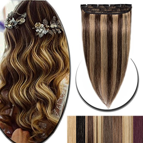 100% Real Hair Extensions Clip in Remy Human Hair 18 50g One-piece 5 Clips Long Straight Hair Extensions for Women Wide Weft Soft Silky Balayage #4/27 Medium Brown Highlighted with Dark Blonde