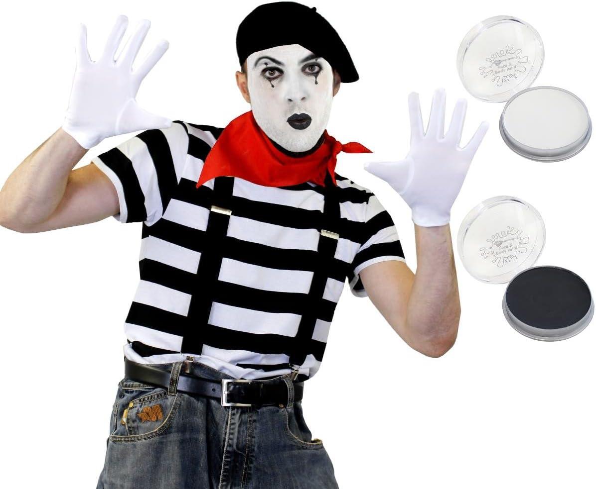 Francés Artista del mimo guantes de disfraz boina camiseta ...
