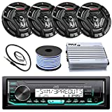 """JVC Marine Boat Yacht Radio Bluetooth Media Player Receiver Bundle Combo With 4 x 6.5"""" 2-Way Coaxial Black Speakers & 4Ch Amp"""