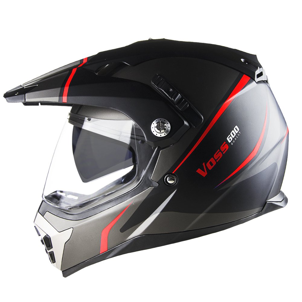 Voss 600 Dually Red Thunderbolt Dual Sport helmet with Integrated Sun Lens and Removable Peak and Smoke Outer Face Shield also Included DOT - L - Matte Red Thunderbolt
