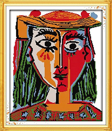 Happy Forever Cross Stitch Figure, Picasso's woman in a hat