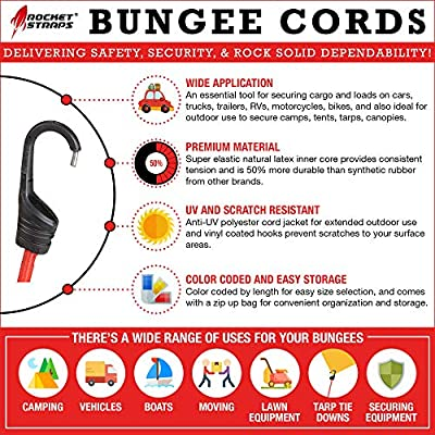 ROCKET STRAPS   (30) PC Bungee Cords with Hooks   Bungee Cord Assortment Includes   Tie Downs   Ball Bungees   Carrying Bag