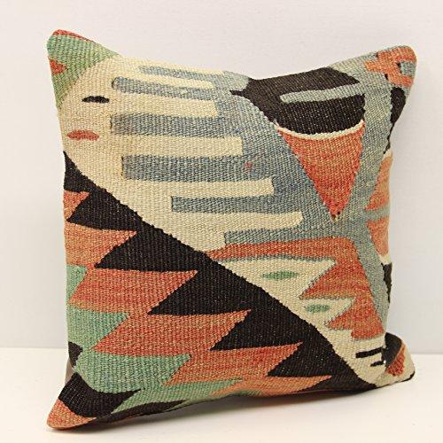 Throw kilim pillow cover 14x14 Feet ( 35x35 cm) Anatolian Kelim pillow cover Turkish Kilim Pillow Home Design Kilim Cushion Art deco pillow cover interior design (Anatolian Striped Kilim Rug Cushion)