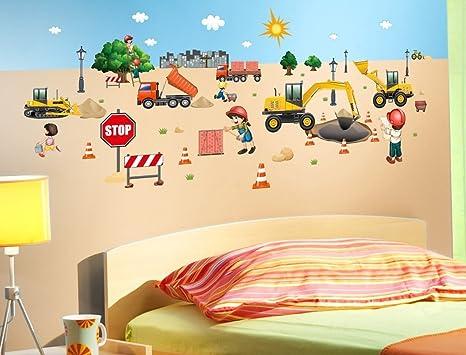 Murales Cameretta Bambini : Adesivo murale parete per cameretta bambini cantiere: amazon.it: fai