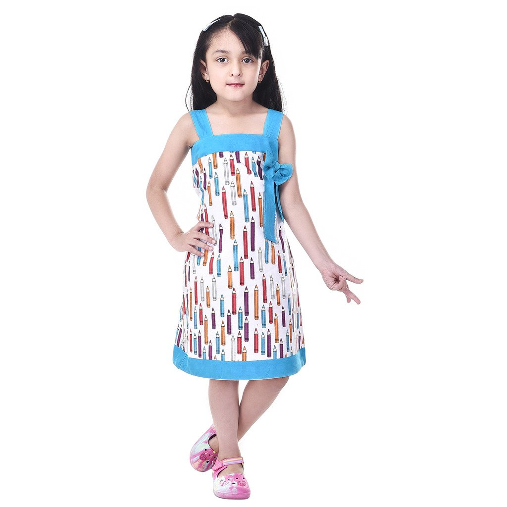 4e6352519 GOODWILL Girl s Casual Printed Turquoise Blue Cotton Frock-GWK ...