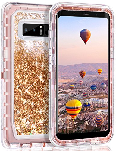 Galaxy Note 8 Case, Coolden Chic Glitter Case with Liquid Sparkle Clear 3D Quicksand Cover Shockproof Bumper Dual Layer Anti-Drop PC Frame + TPU Back Skin for 6.3 Samsung Galaxy Note 8 (Light Coffee)