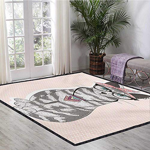Teen Room, Area Rug Living Room, Stylish Kitty Cat with Glasses Tribal Necklace Clasp Fashion Design Print, Door Mat Outside 6.6x9 Ft Pale Pink Grey