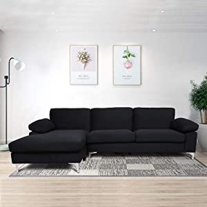 Velvet Fabric Sectional Sofa Set Corner Couch with Chaise Lounge Living Room Furniture (Luxury Black)