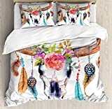 Our Wings Watercolor Comforter Set,Bull Skull Hanging Flower Feathers Ethnic Inspired Native American Design Bedding Duvet Cover Sets Boys Girls Bedroom,Zipper Closure,4 Piece,Multicolor Twin Size