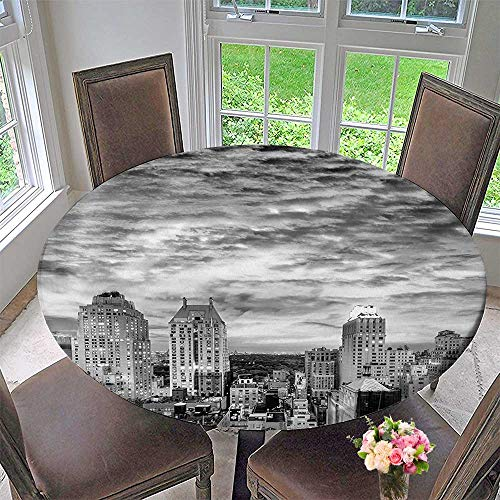 Mikihome Round Premium Table Cloth Skyline Rooftop View of New York Skyscrapers in Cloudy Day Panoramic Bust Cityscape Perfect for Indoor, Outdoor 63