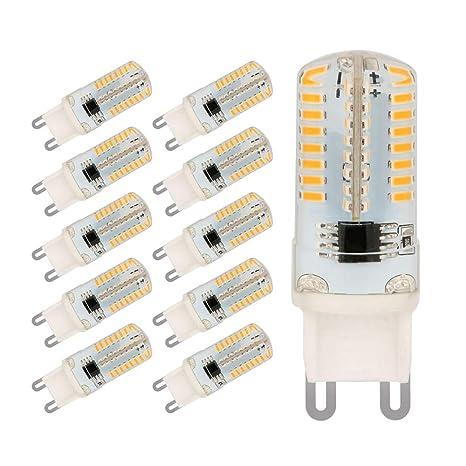 Bombillas LED G9, 5W Equivalentes a Lámparas halógenas de 45W, 64 x 3014SMD, Blanco Cálido 3000K, AC220-240V, Ángulo de Haz de 360°, Pack de 10 by ...
