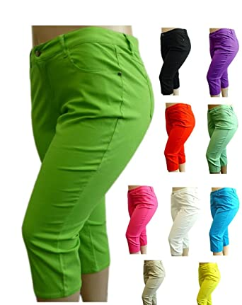 Amazon.com: NEW 1826 Twill CAPRI Pants High Waist Womens Plus Size ...