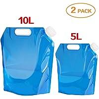2 bidones de agua plegables de Ariel-Gxr [5 L + 10 L] Depósito de agua para senderismo, camping, picnic, viaje, barbacoa