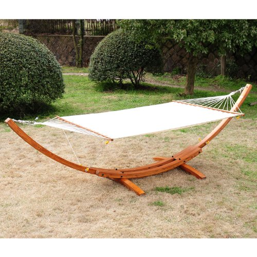 Outsunny Wooden Pine Arc Double Wide Patio Hammock Swing and Stand, White by Outsunny
