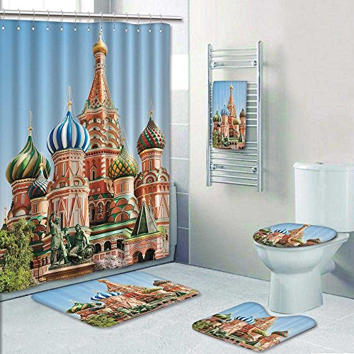 5 Piece Bath Rug Set,ussia Red Square Kremlin Palace mous Domes Church Home Textile Russi Print bathroom rugs shower curtain/rings and Both Towels (Bold Dome Ring)