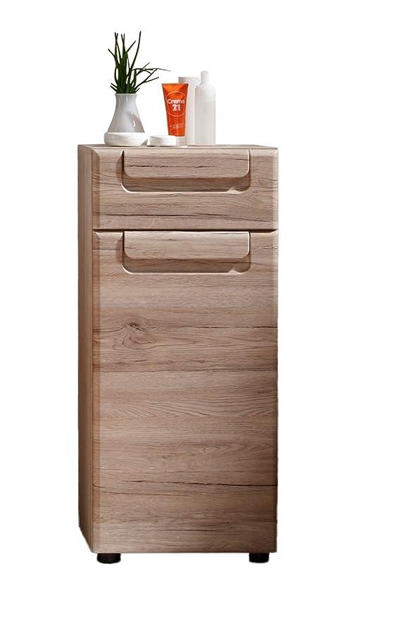 trendteam Armario de baño Cómoda Malea, 37 x 82 x 31 cm en acabado roble claro San Remo con mucho espacio