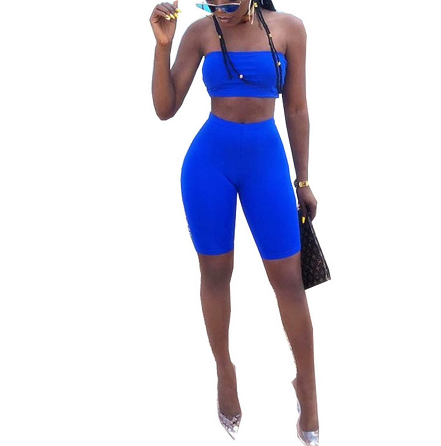 Women 2 Piece Set Off The Shoulder Crop Tops+Shorts Sweat Suits Summer Outfits
